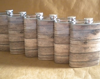Groomsmens Gifts Set of 6 Old Barnwood Print 8 ounce Stainless Steel Rustic Country Western Gift Flask KR2D 6801