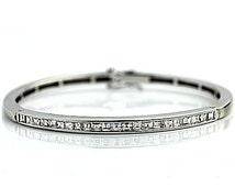 Diamond Bangle Bracelet Vintage 14k White Gold Women's Estate Bangle 2.85ctw Channel Set Bangle!