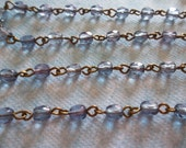 Bead Chain Purple Amethyst 4mm Fire Polished Glass Beads on Brass Beaded Chain - Qty 18 Inch strand