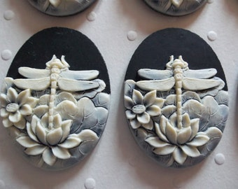 Ivory Dragonfly & Lotus Flowers on Black Cameo - 40 X 30mm Resin Cabochons Qty 6