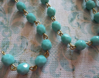 Bead Chain Turquoise 6mm Fire Polished Glass Beads on Brass Beaded Chain - Qty 18 Inch strand