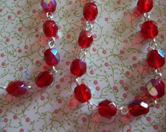 Bead Chain Ruby Red AB 6mm Fire Polished Glass Beads on Silver Beaded Chain - Qty 18 Inch strand