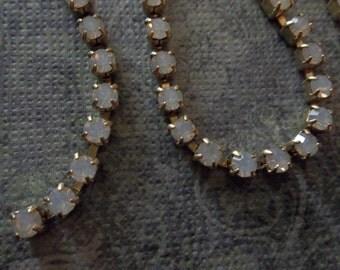 Rhinestone Chain White Opal Preciosa Czech Crystal 3mm 24PP in Brass Setting - Qty 36 inches
