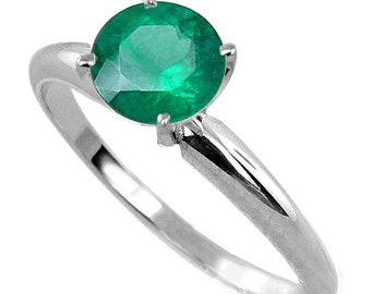 14K white gold women ring colombian emerald ring solitaire elegant jewelry fine jewelry spectacular jewelry