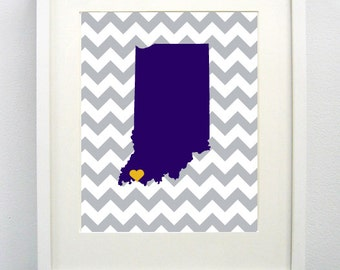 Evansville, Indiana State Giclée Map Art Print  - 8x10 - Graduation Gift Idea - Dorm Decor