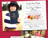 Sister Missionary Printable Mission Announcement, Floral Farewell Open House Invitation, Optional Two Sided Card