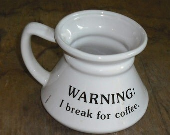 Clearance Vintage Warning I Break for Coffee Travel Mug Cup Coffee Cartoon Comic Retro Serving Dish Dining Home Kitchen