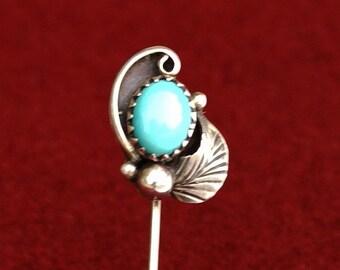 Turquoise & Silver Stick Pin Southwestern Vintage