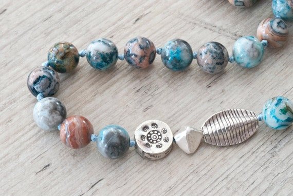 Imperial Jasper Necklace, Sterling Silver and Gemstone Knotted Statement Necklace, Blue Jasper Jewellery, Fine Greek Jewellery Gift Ideas