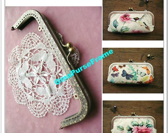 18cm(7 inch) Butterfly-embossed rectangle metal purse frame (antique brass color)-1piece