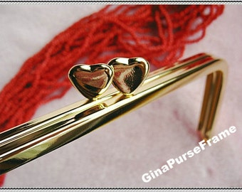 13cm (5 1/4inch) fancy heart-bead rectangle metal bag purse frame (gold color)-1piece