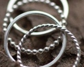 Beaded, Twisted, and Smooth Texture Stacking Rings- Sterling Silver Hand Fabricated