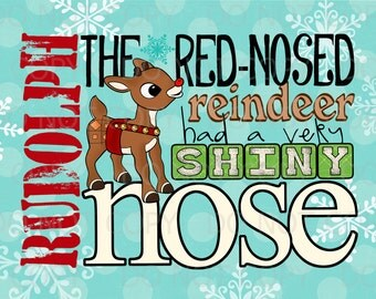 Printable Rudolph the Red-Nosed Reindeer Inspired Subway Art Print - 5x7