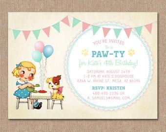 girls puppy party  etsy, invitation samples