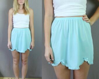 Vintage 1960s Pale Blue Short Slip