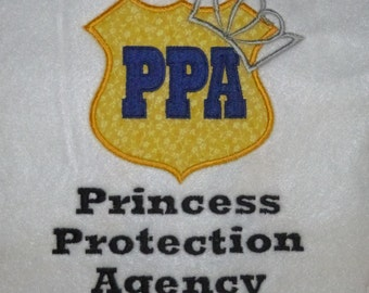 Princess Protection Agency with or withOUT crown appliqued t-shirt