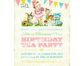 Digital PRINTABLE Vintage Woodland Animals Deer Fawn Teddy Bear Flower Celebrate Birthday Tea Party Girl Children Invitation Card Sheet IN65