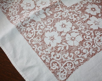 Vintage Linen Tablecloth Lace Look Printed Design Brown White
