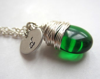Emerald Green Necklace Initial Necklace Wire Wrapped Jewelry May Birthstone Necklace Gift for Her Personalized Jewelry