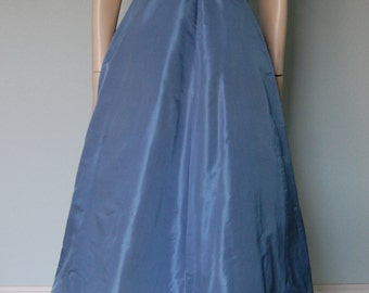 1950s Mollie Parnis Silk Taffeta New Look Party Dress - Brilliant Sky Blue - Pleating Detail - Belted