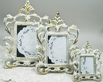 Three Picture Frames Victorian Style Solid Brass Antiqued in White Hand Painted by OlliesFineThings