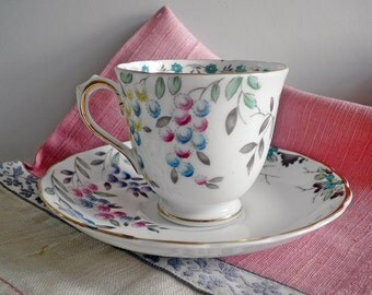 Vintage Demitasse Cup and Saucer English Bone China Handpainted Design w. Gold Trim