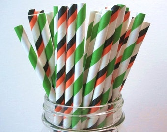 25 Halloween Green & 2 Tone Black Orange Stripe Paper Straws Wedding Birthday Baby Shower Party / Cake Pop
