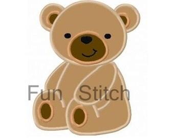 Teddy bear applique machine emboridery design
