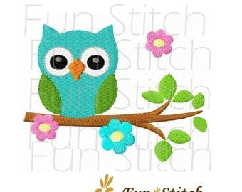 owl on flower tree machine embroidery design