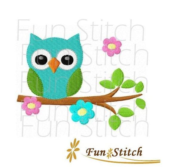 Owl on flower tree machine embroidery design