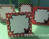 Minnie Mouse Inspired: Set of 9 Food/Name/Activity Tents. Buffet Cards. Food Tents. Blank. Red white and black buffet tents.
