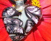 Heart pendant dichroic glass fused on white