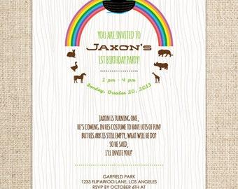 Noah's Ark Invitation  - Noah's Ark Birthday Invite - Noah's Ark Shower Invitation - Customized Printable File