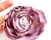 Dusky Purple Fabric Flower Hair Clip with Rhinestone Center