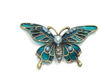 Teal and Blue Rhinestone Butterfly Brooch