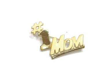 Gold Number one Mom Pin