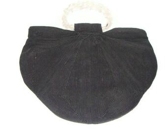 Vintage Black corded Half Moon Handbag