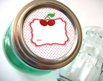 Cherry canning jar labels, 2 inch round stickers for fruit preservation, regular or wide mouth mason jar labels