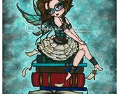 5x7 Library Bookworm Fairy  Big Eye Fantasy Art Print Hannah Lynn