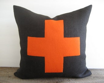Black Burlap Pillow Cover Swiss Cross Orange
