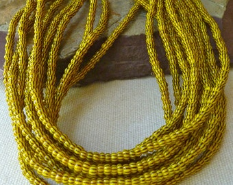 "Tiny Vintage African Trade Glass Beads - Black Stripes on Yellow - 3-4mm - 38"" Strand"