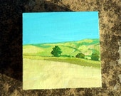 Landscape-on-a-ledge Freestanding miniature acrylic painting on wood