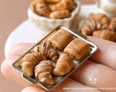 Mixed Croissants Tray 1/12 scale dollhouse miniature