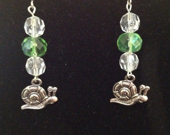Green and White Snail Earrings