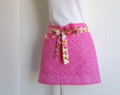 Half Apron - SALE- Pink Petite Polka Dots with a Flowery Strap - Great Vendor or Cafe Apron..fun to entertain in