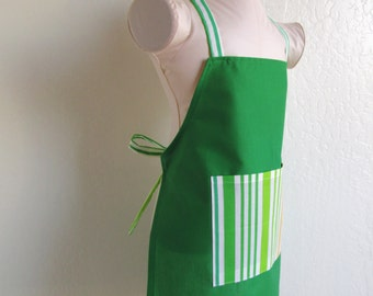 Childrens Apron - SALE Emerald Green Kids Apron with fun Green and Yellow Stripes, great for cooking or creating arts and crafts
