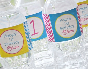 10 Water Bottle Labels - Chevron Birthday Decorations with Polkadots - Teal, Pink, Yellow