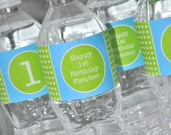 Water Bottle Labels, Boys 1st Birthday, Drink Labels, Boys Baby Shower, Bright Pool Blue, Bright Green and White Polkadot - Set of 10 Labels