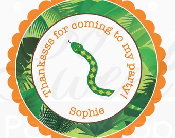 24 Reptile Birthday Stickers - Party Favor Stickers - Reptile Birthday Decorations - Orange, Green and Brown