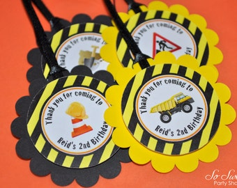 Construction Birthday Party Favor Tags, Boys 1st Birthday Decorations, Party Favor Tags, Thank You Tags, Dump Truck Birthday - Set of 12